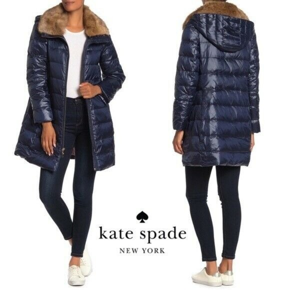 Kate Spade Faux Fur Collar Down Puffer Coat Jacket